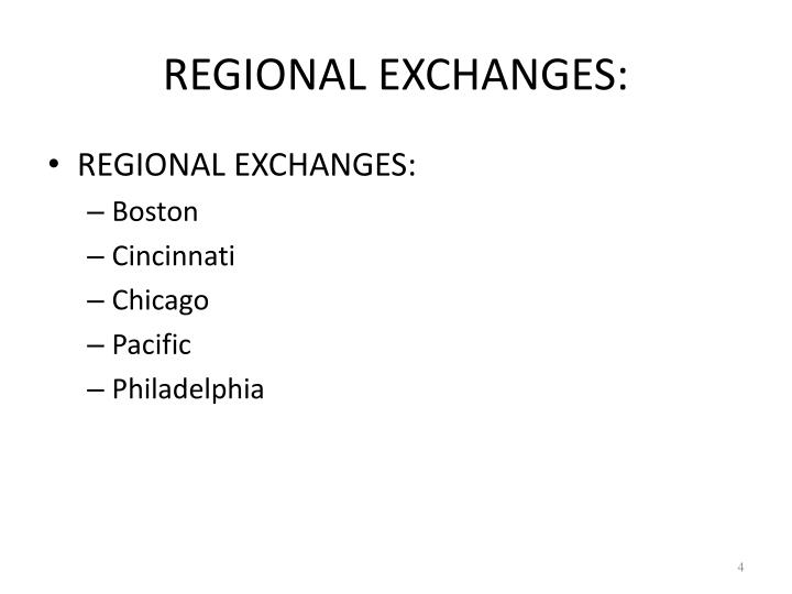 REGIONAL EXCHANGES: