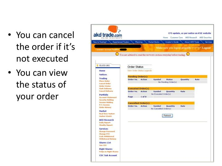 You can cancel the order if it's not executed