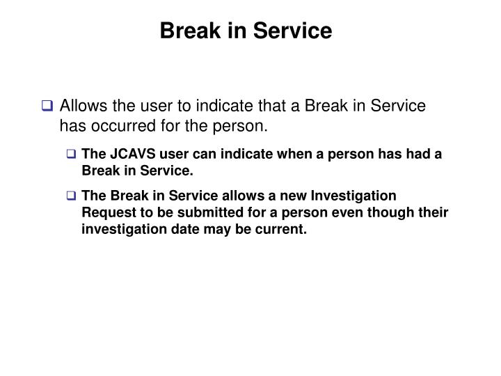 Break in Service