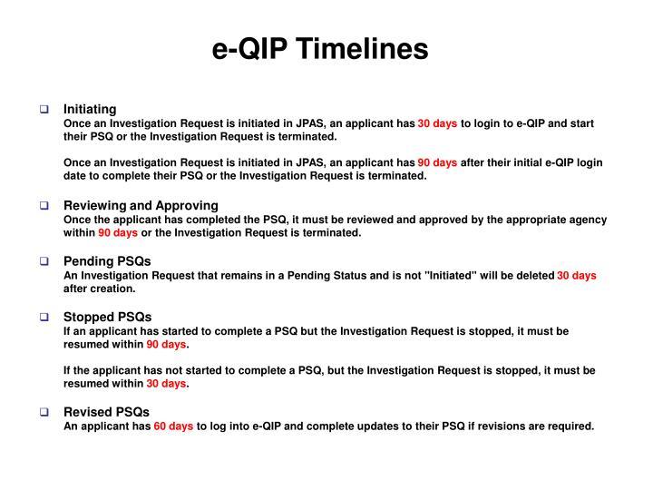 e-QIP Timelines