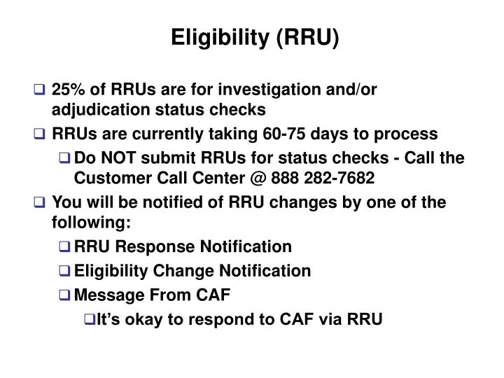 Eligibility (RRU)