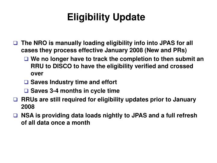 Eligibility Update