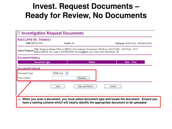 Invest. Request Documents –