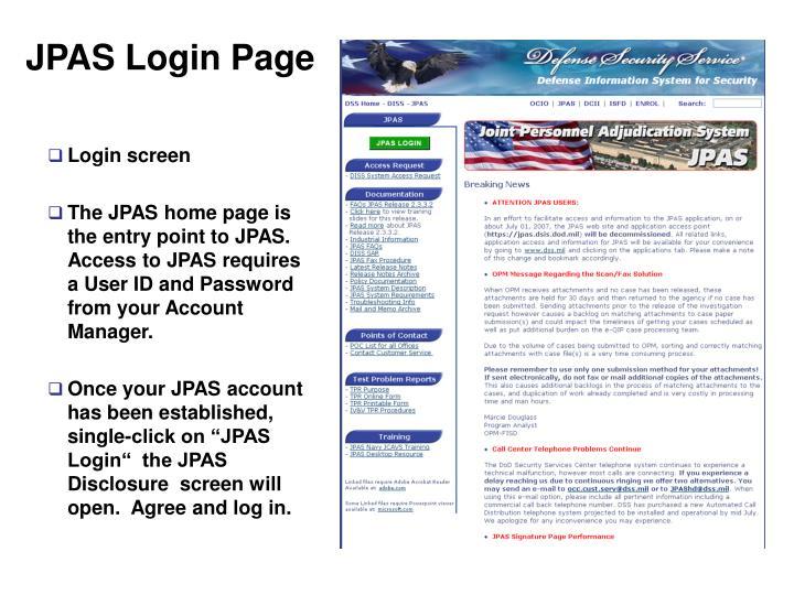 JPAS Login Page