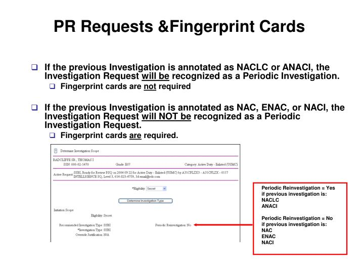 PR Requests &Fingerprint Cards
