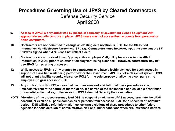 Procedures Governing Use of JPAS by Cleared Contractors