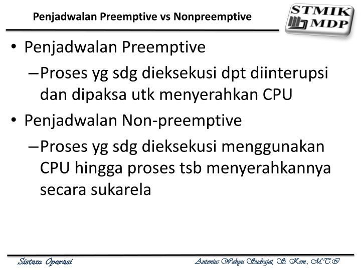 Penjadwalan Preemptive vs Nonpreemptive