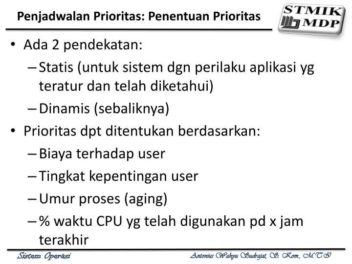 Penjadwalan Prioritas: Penentuan Prioritas