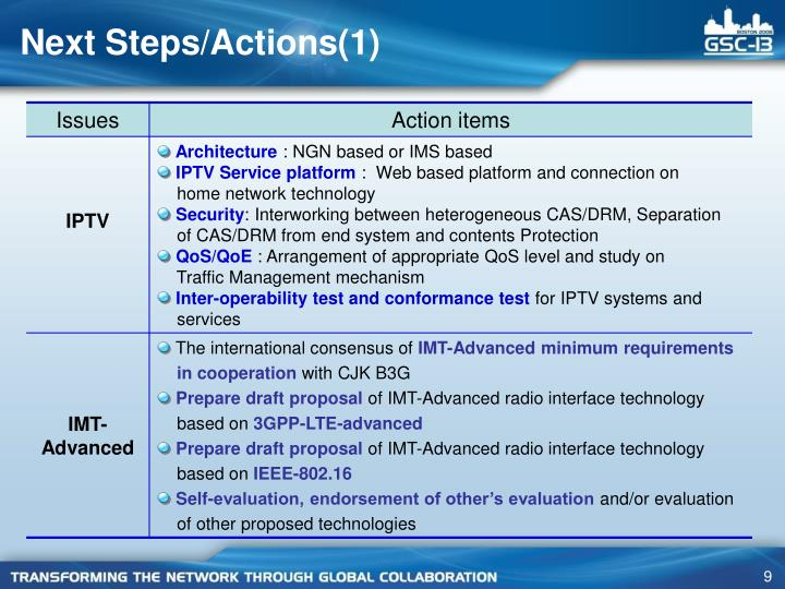 Next Steps/Actions(1)