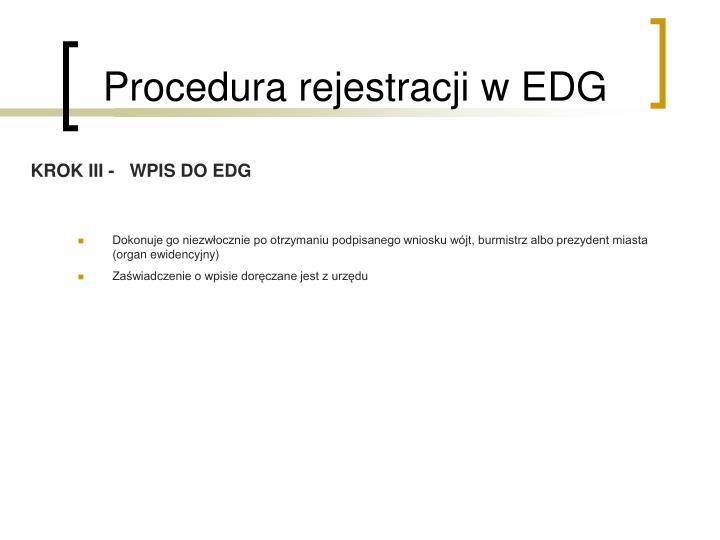 Procedura rejestracji w EDG