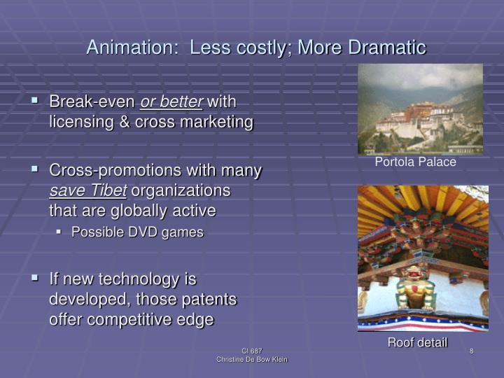 Animation:  Less costly; More Dramatic