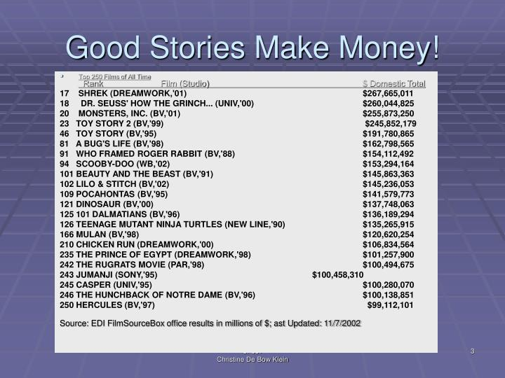 Good stories make money