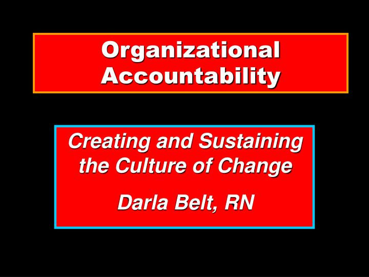 Organizational accountability