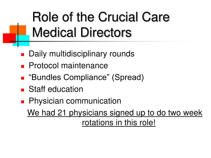 Role of the Crucial Care     Medical Directors