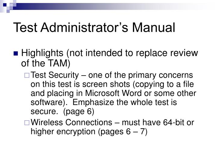 Test Administrator's Manual