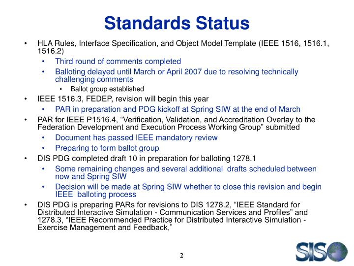 Standards Status