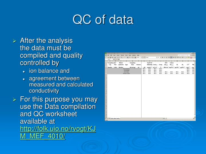QC of data