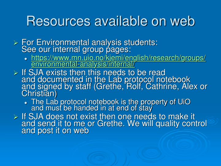 Resources available on web