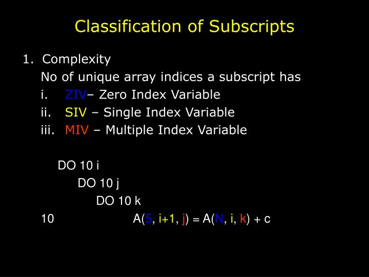 Classification of Subscripts