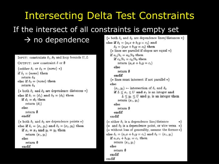 Intersecting Delta Test Constraints