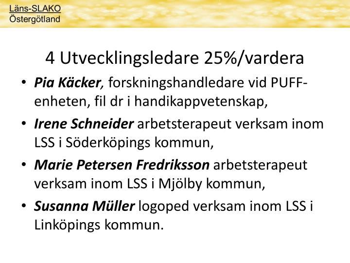 4 Utvecklingsledare 25%/vardera