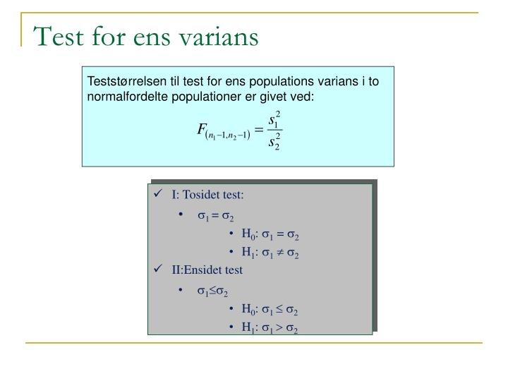 Test for ens varians