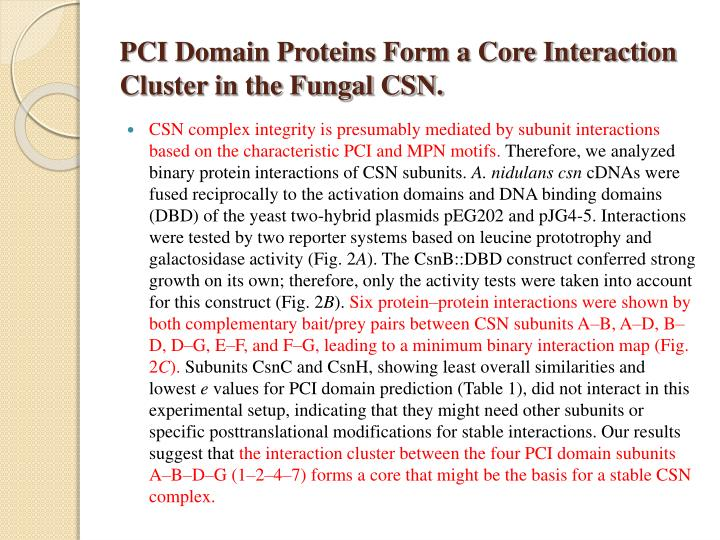 PCI Domain Proteins Form a Core Interaction Cluster in the Fungal CSN.