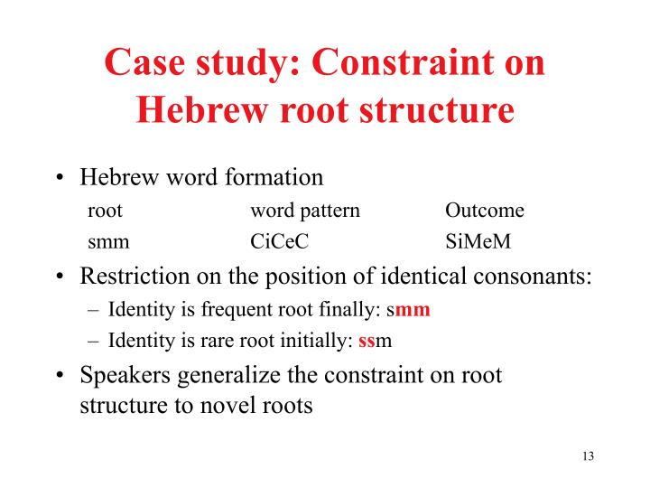 Case study: Constraint on Hebrew root structure
