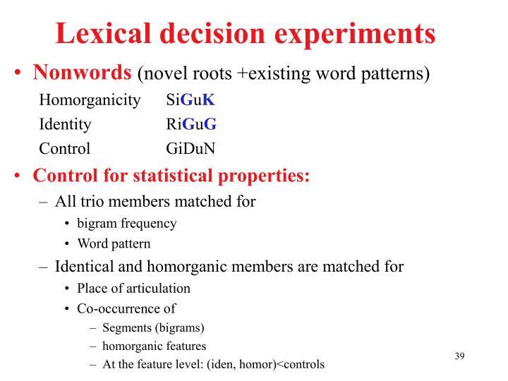 Lexical decision experiments