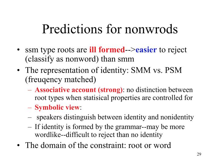 Predictions for nonwrods