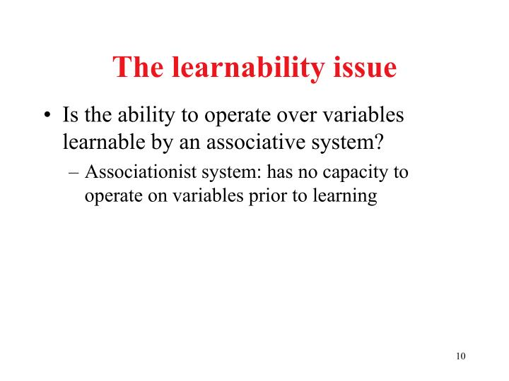 The learnability issue