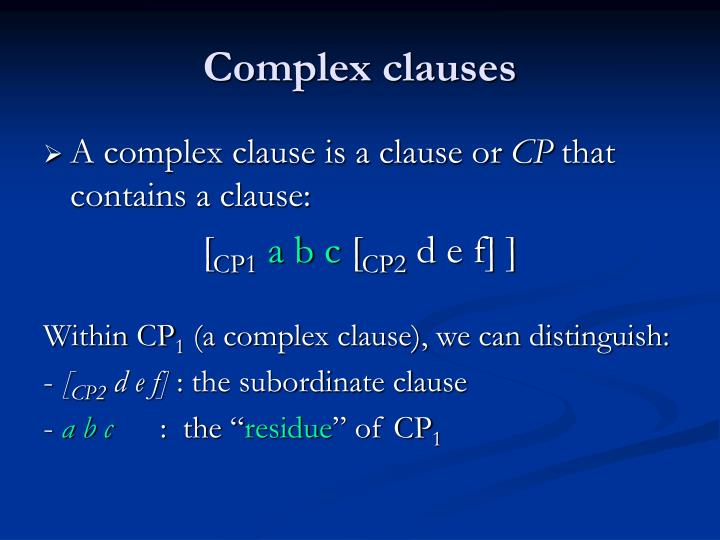 Complex clauses
