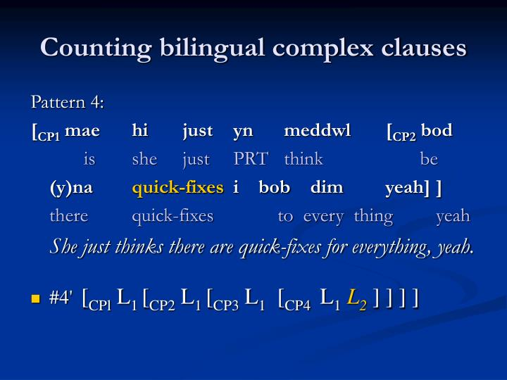 Counting bilingual complex clauses