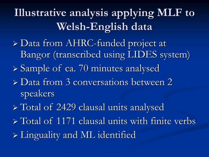 Illustrative analysis applying MLF to Welsh-English data