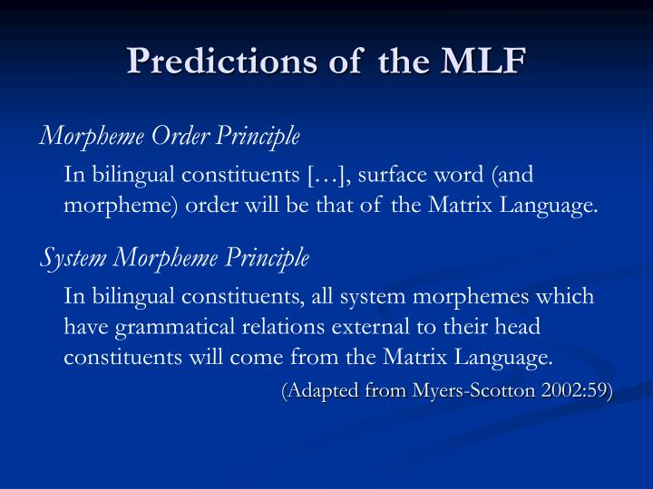 Predictions of the MLF