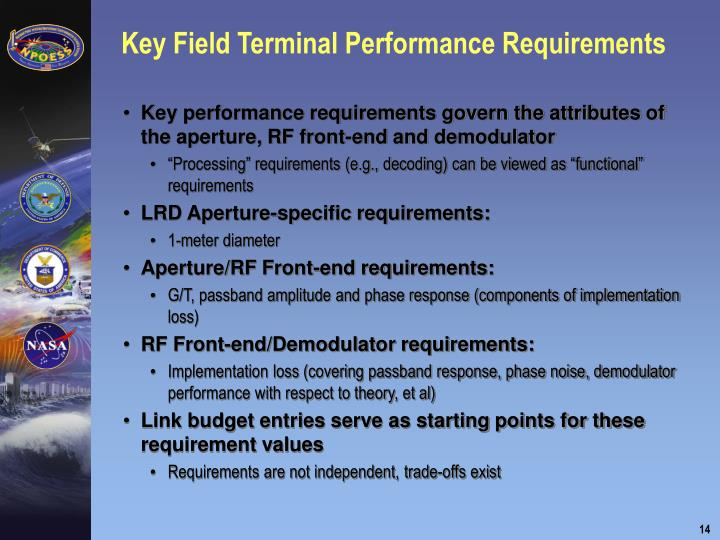 Key Field Terminal Performance Requirements