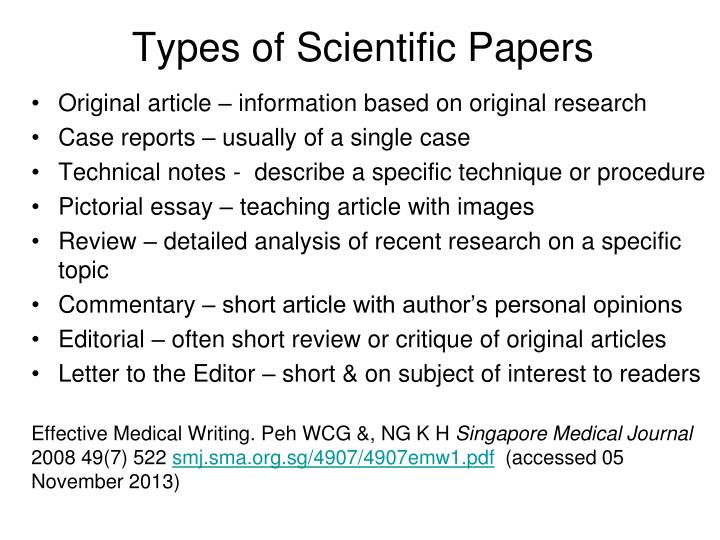writing scientific medical papers Writing good scientific papers & responding to critiques mitch goodsitt, phd imaging physics editor medical physics.