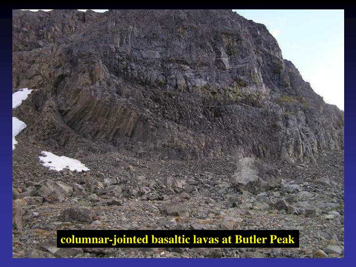 columnar-jointed basaltic lavas at Butler Peak