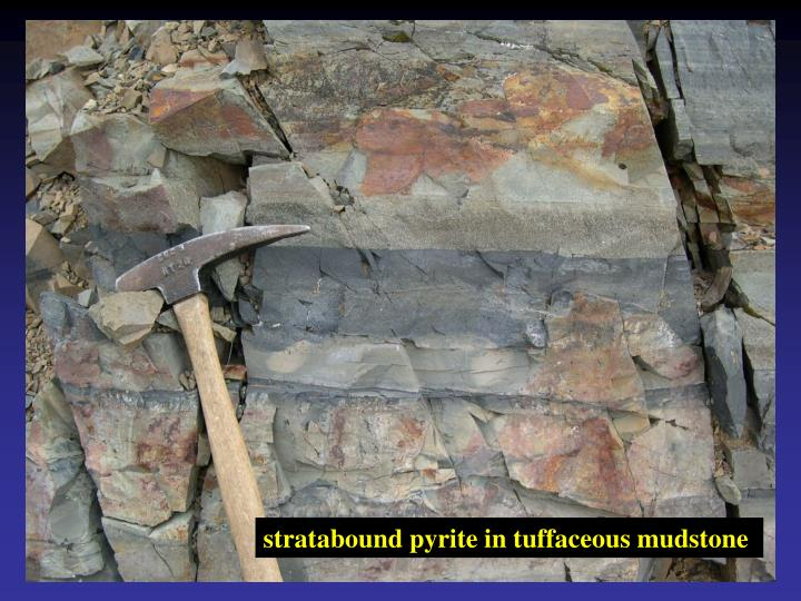 stratabound pyrite in tuffaceous mudstone