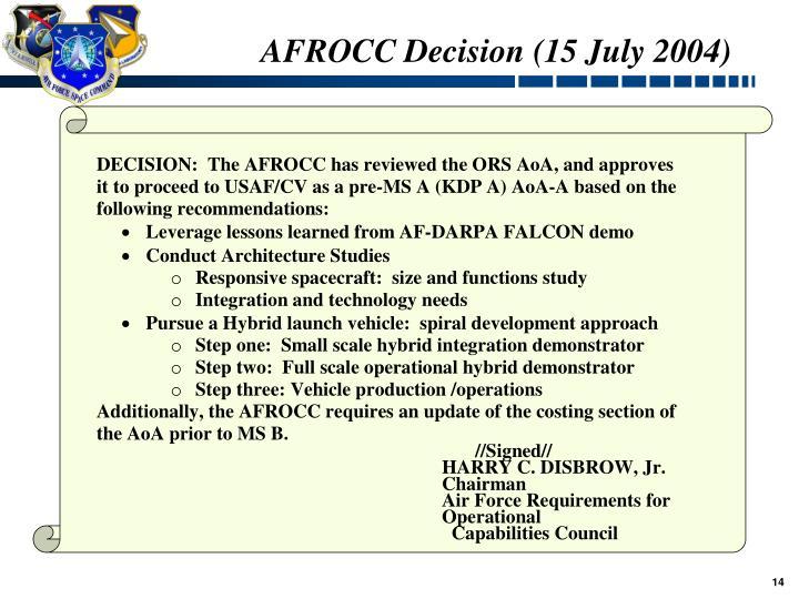 AFROCC Decision (15 July 2004)