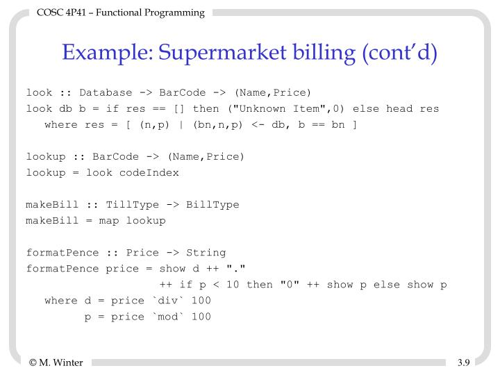 Example: Supermarket billing (cont'd)