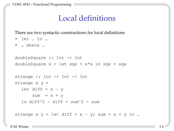 Local definitions