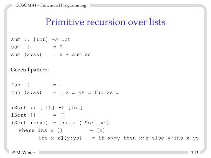 Primitive recursion over lists