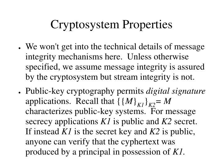 Cryptosystem Properties