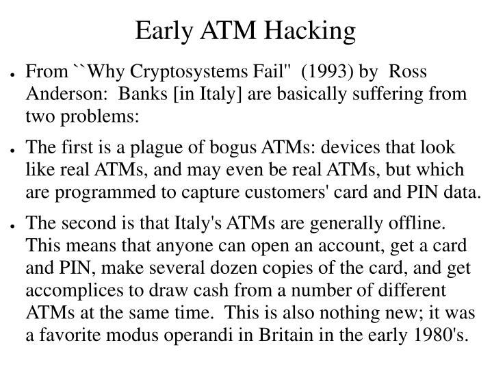Early ATM Hacking