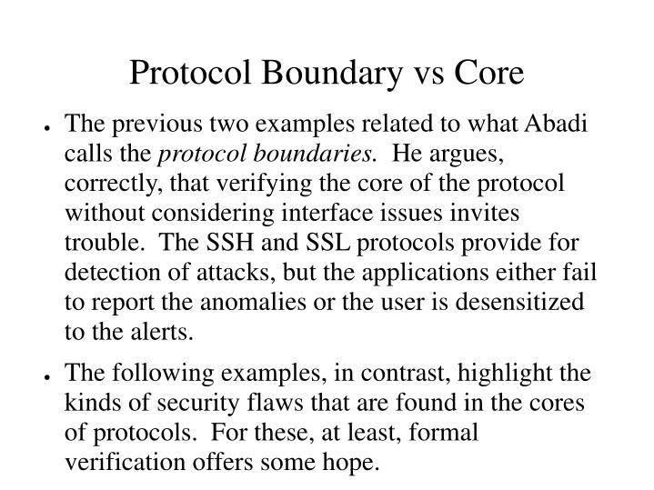 Protocol Boundary vs Core