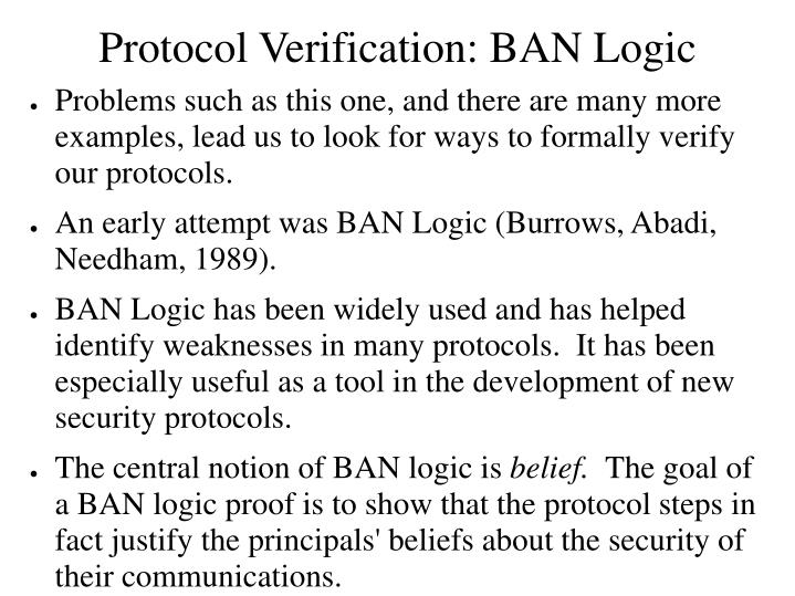 Protocol Verification: BAN Logic