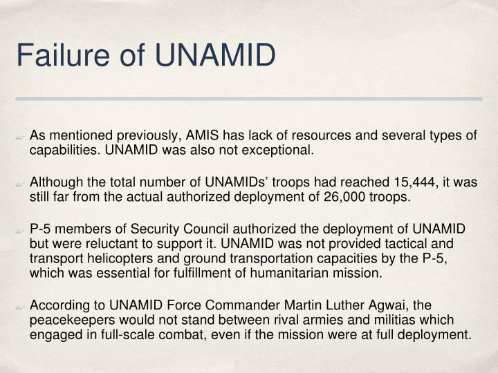 Failure of UNAMID