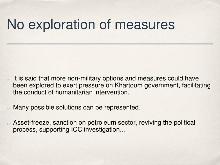 No exploration of measures
