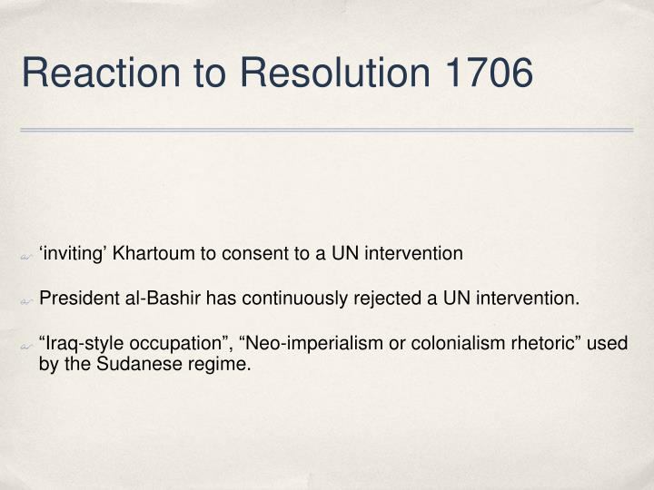 Reaction to Resolution 1706